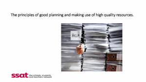 First page - The principles of good planning and making use of high quality resources